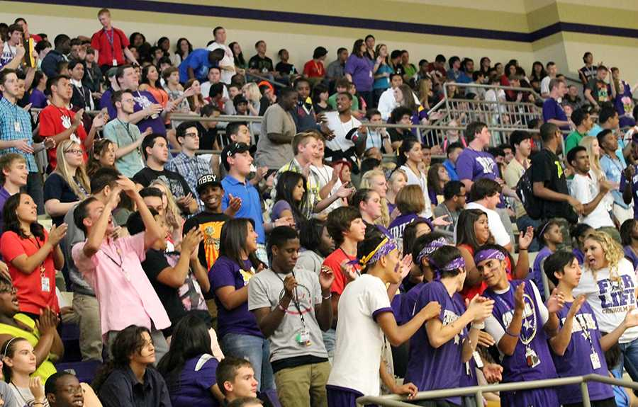 Sophomores and Juniors show their spirit or not during the first pep rally of the 2013-2014 school year. Photo by Bryce Tuck