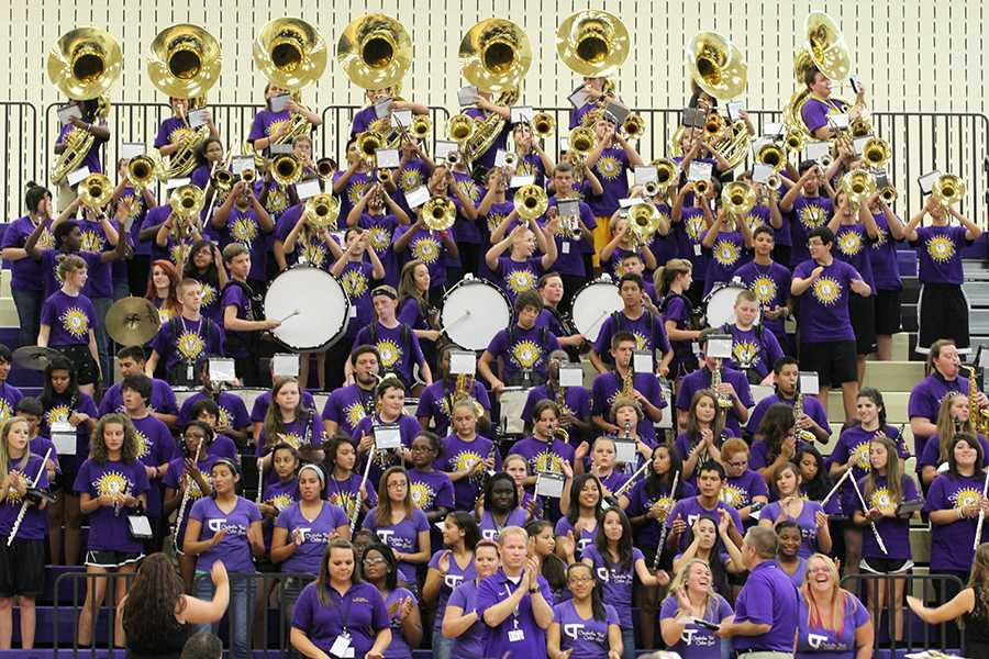 The band plays at a recent pep rally. Each performance offers another chance to practice for their upcoming trip. Photo by Nicholas Alvarez