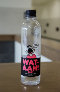 The cafeteria recently began selling a new brand of water, and the attraction may be what's on the outside.