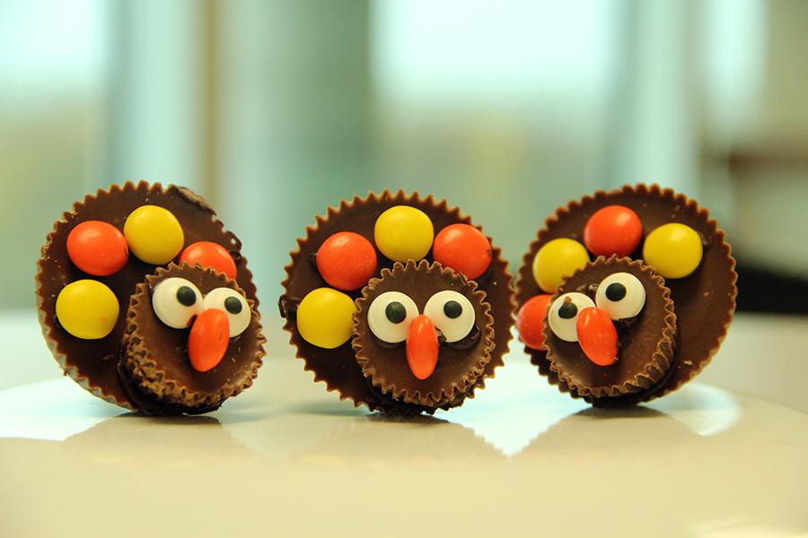 Have a sweet Thanksgiving with these adorable Reese's Peanut Butter Cup turkeys. Photo by Kiley Flood.