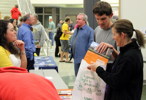 Junior Matt Smiley receives college information at an October College Fair.
