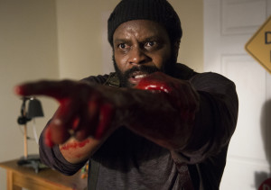 Tyreese fights for his sanity after being bit by a walker on his forearm.