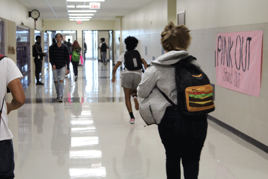 With five minutes to get to class, students often have to run to make it on time.