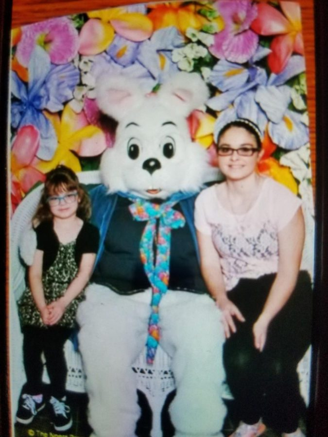 Hali Cortes with her sister in 2015 at the mall taking Easter pictures.