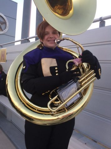 Cara Wimberley plays the Tuba in the Ranger Regiment.