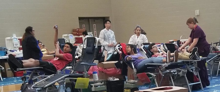 Student Council sponsored the blood drive May 1. Laura Elias, matthew letkerman Ethan , Natalie Teran  were some of the students who gave blood during fifth lunch.