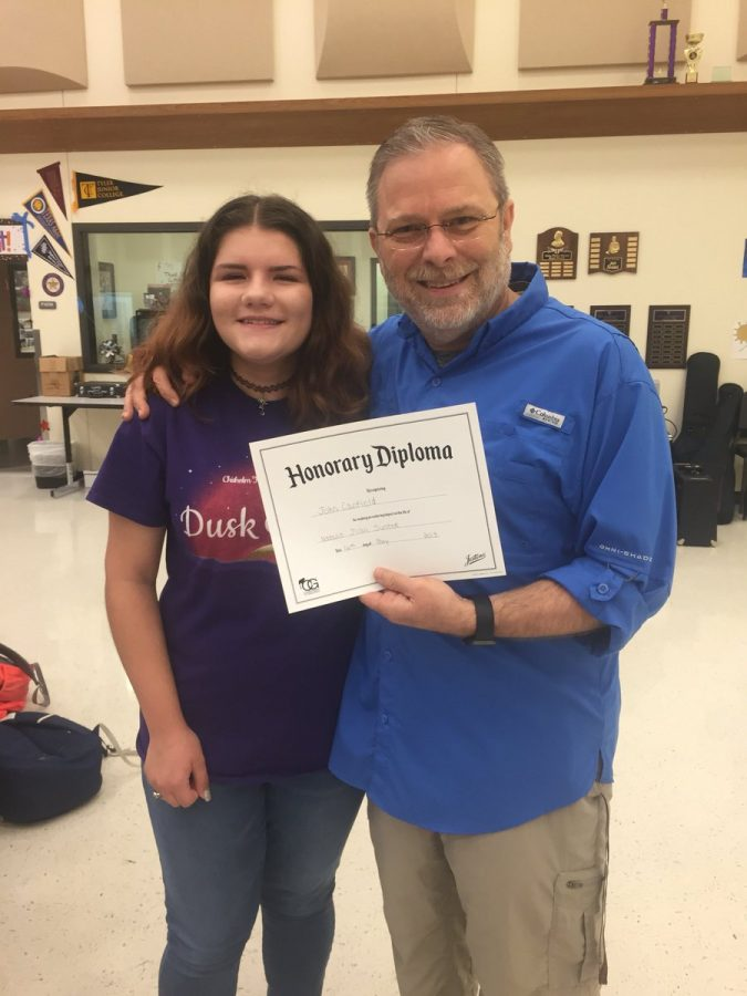 Director John Canfield and senior Natalie Sustek. Photo courtesy; Ranger Regiment twitter.