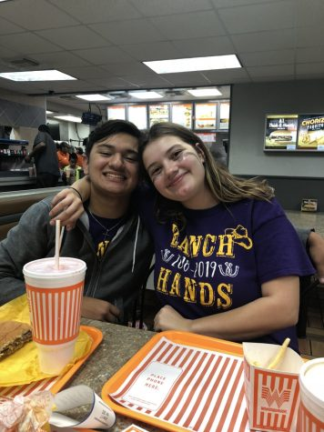 Xavier Wood and Tori Carroll at Whataburger after a game.