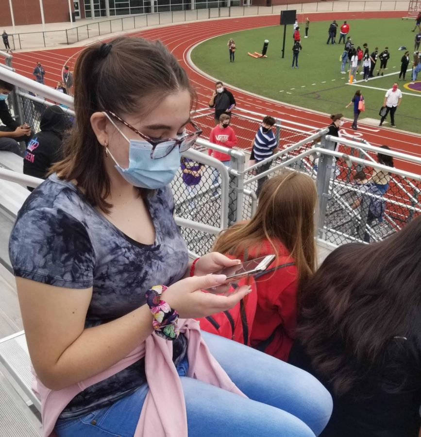 During the evacuation Sept. 24, sophomore Karielly Rios and the rest of the students on campus went to the stadium and found their sixth period teachers.